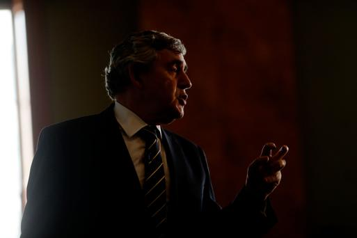 Gordon Brown speaks at the Bank of England's 'Independence – 20 Years On' conference at Fishmongers' Hall in London's City