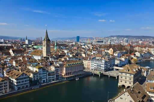 Zurich (pictured), New York and San Francisco are the costliest places in the guide which tots up the yearly cost of basing 100 workers in a city