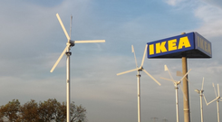 Wind turbines at an Ikea store in the Netherlands
