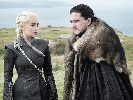 Characters Daenerys Targaryen and Jon Snow from 'Game of Thrones', a major TV hit for Sky