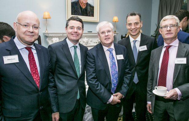 Shaun Murphy, managing partner of KPMG, Minister for Finance Paschal Donohoe, Ray Gray, DAA, Dalton Philips, DAA and David Meagher, partner KPMG, at the Budget 2018 event presented by INM and sponsored by KPMG in the St Stephen's Green Hibernian Club