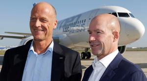 Airbus president and chief executive officer Tom Enders and Alain Bellemare, president and chief executive officer of Bombardier. Photo: Reuters