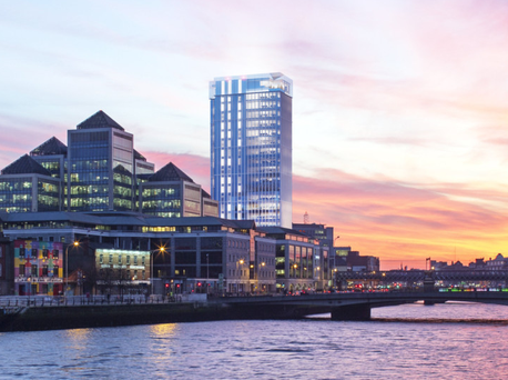 An artist's impression of the 22-storey tower Johnny Ronan wants to build at Tara Street