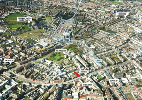 No 50-51 Bolton Street, marked in red, is located less than a five-minute walk from the DIT's new Grangegorman campus
