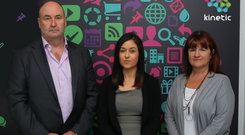 Kinetic's new deputy MD Aoife Hudson, centre, with Kinetic CEO Simon Durham and MD Carol Hogan.