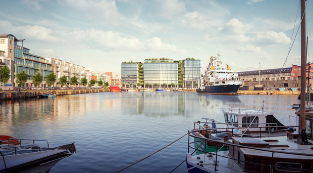 An artist's impression of the proposed Bonham Quay scheme which will overlook Galway Docks.