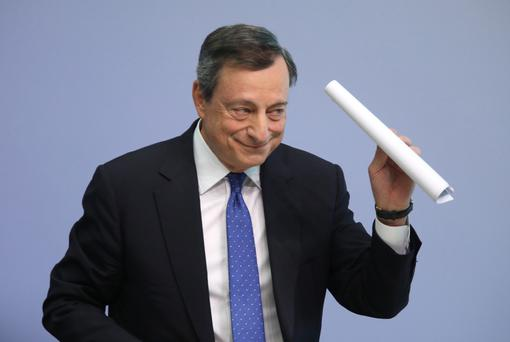 ECB boss Mario Draghi announced last week that stimulus would be halved to €30bn a month but for an extended period until September 2018. Photo: Bloomberg