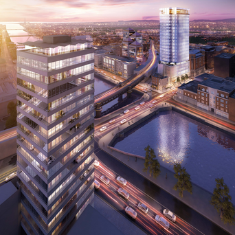 Given the demand for offices, Johnny Ronan is hoping his plan for an 88m tower on Tara Street, seen facing Liberty Hall, is approved by An Bord Pleanala