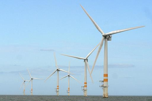 The Arklow Bank wind farm is about seven nautical miles off the coast