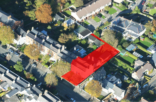 An aerial view of Nos 28 and 30 Sandymount Road shows their proximity to Sandymount Village