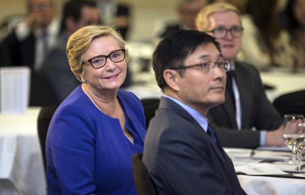 Tánaiste Frances Fitzgerald and Dr Yue Xiaoyong, Chinese Ambassador, at the Asia Matters event. Picture: Mark Condren