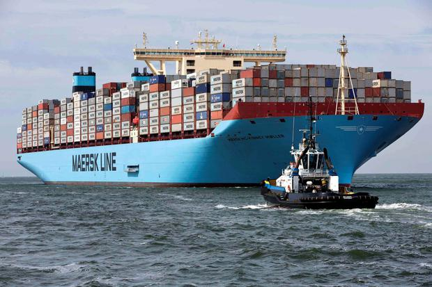 The MV Maersk Mc-Kinney Moller, the world's biggest container ship – AP Moller-Maersk posted a third-quarter-loss after having its business disrupted by a cyberattack last summer
