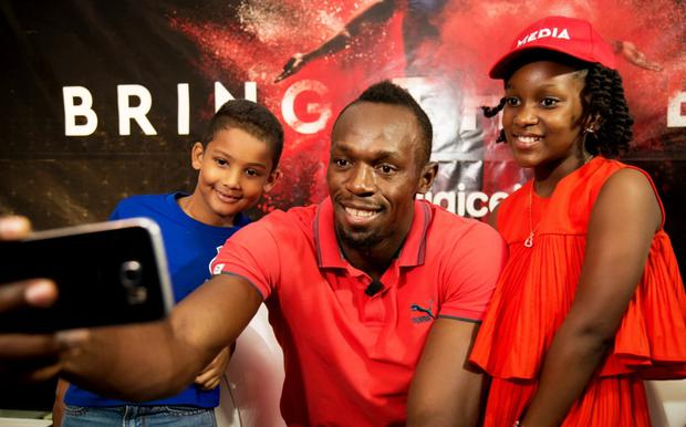 Usain Bolt, the fastest man alive, teamed up with Digicel to launch its Bring the Beat campaign in front of an inquisitive bunch of little kids from across the Caribbean at the Terra Nova All Suite Hotel in Kingston, Jamaica