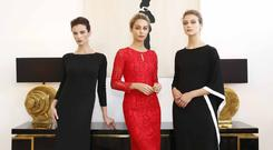 Top models Karen Fitzpatrick, Thalia Hefferernan and Aoibhinn Lane launching Louise Kennedy's autumn winter 2017 collection
