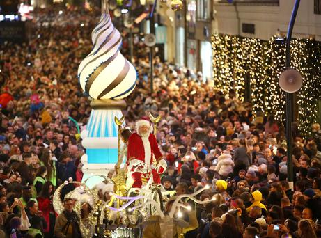 Santa and thousands of people gathered on Grafton Street for the turning on of the Christmas lights. Picture: Gerry Mooney
