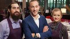 Barman Ethan Miles, maitre d' Mateo Saina and waitress Alice Marr on First Dates Ireland