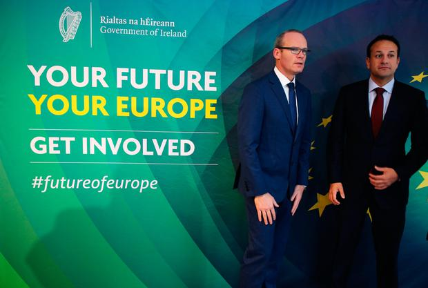 Foreign Affairs and Trade Minister Simon Coveney and Taoiseach Leo Varadkar have taken a hard line on the post-Brexit Border. Photo: Press Association. Photo: PA