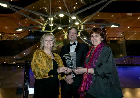 Yvonne Farrell and Shelley McNamara with Jim Clery, partner, head of Real Estate at KPMG Ireland, at the KMPG Irish Independent Property Industry Excellence Awards at the Convention Centre in Dublin last night. Photo: Iain White
