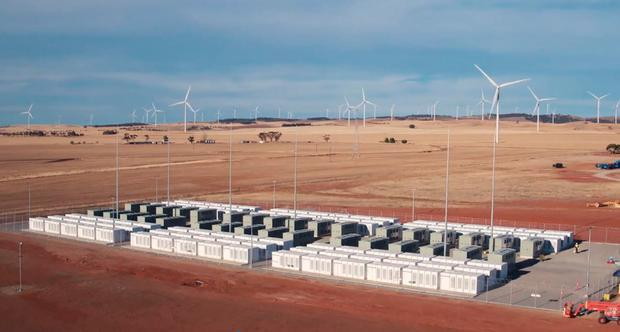 Drone footage of the Tesla 100 MW/129 MWh Powerpack system by billionaire entrepreneur Elon Musk in the rural town of Jamestown, 200km north of Adelaide