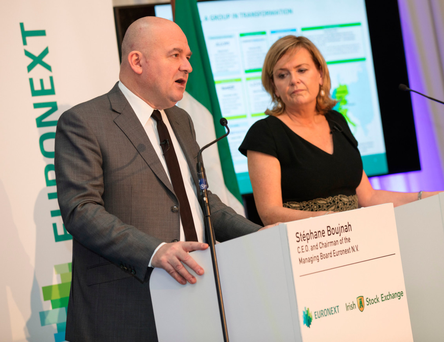Euronext chief Stephane Boujnah and the Irish Stock Exchange CEO Deirdre Somers announce the deal she says will bring innovation capability. Photo: Bloomberg