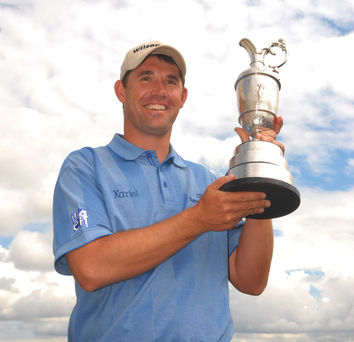 Padraig Harrington with the famous Claret Jug after his gripping British Open victory at Carnoustie in 2007.