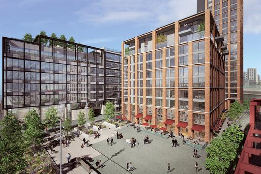 An artist's impression of Kennedy Wilson's Capital Dock development where Indeed will take a 20-year lease on two blocks