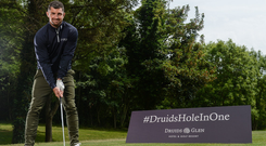 Irish rugby international Rob Kearney at Druids Glen for the launch of the 'Hole in One Challenge' in June. Photo: Sportsfile