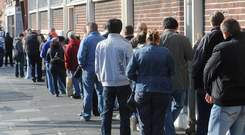 People queue at a social welfare office at North Cumberland Street in Dublin in 2009. Photo: Damien Eagers