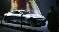 An Aston Martin DB10 is displayed in an exhibition dedicated to James Bond in Paris Photo: AFP/Getty