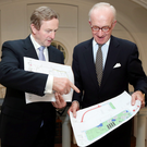 Former Taoiseach Enda Kenny and Gerald Crotty, chairman of Mayo Renewable Power, at the announcement of the project