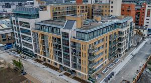 Drone footage of the 124 apartments at North Bank portfolio in the Dublin Docklands