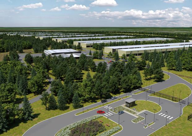 An artist's impression of the Apple data centre that was originally planned for Athenry in Co Galway