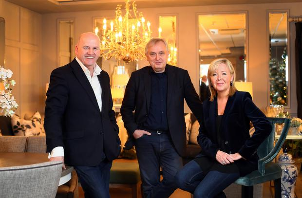 Sean Gallagher with Ventura's Juergen Riedel and Arlene McIntyre at the Ventura head office. Picture: Frank McGrath