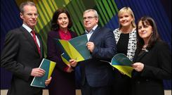 Carol Andrews, second from right, with Davy CEO Brian McKiernan, FBD CEO Fiona Muldoon, AIB CEO Bernard Byrne and Meloisa O'Caoimh, managing director, Northern Trust, at last week's launch of 'Making The Change Count', A Study of Women in Financial Services in Ireland by the 30% Club