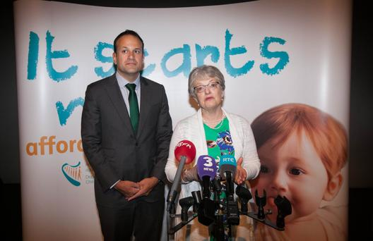 Taoiseach Leo Varadkar and Children's Minister Katherine Zappone launching the latest childcare supports. Photo: Gareth Chaney Collins