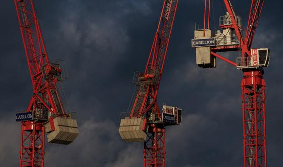Despite the remarkable recovery of the Irish construction sector which has seen a profusion of cranes on the Dublin skyline, the industry faces growing unease over current business models following the British firm's demise. Photo: Getty Images