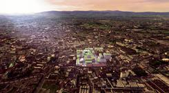 An artist's impression showing the aerial view of the proposed St James Quarter scheme