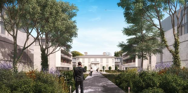 An artist's impression of the luxury homes Paddy McKillen Jr is proposing for Oakmount's site in Blackrock in Dublin.