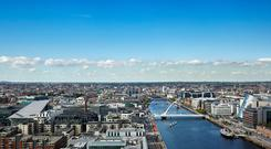 An artist's impression of the Dublin Docklands as seen from the top floor of Capital Dock, which is currently being developed by Kennedy Wilson.