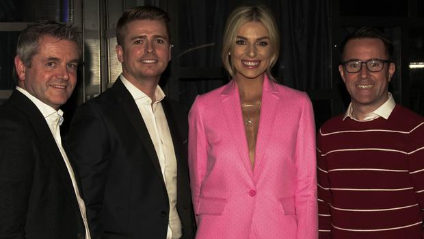 Larry Bass, Brian Ormond, Pippa O'Connor and Mitchell O'Gorman at the Offscript Studio launch; below Radio Nova rugby pundit Brent Pope