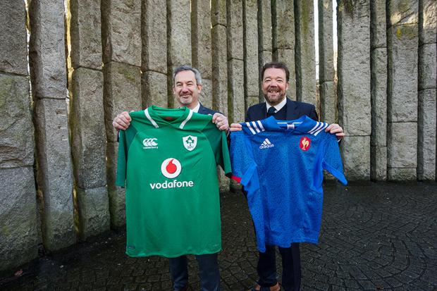 Philippe Guichard, president, Groupe Adéquat, and Adrian McGennis, CEO of Sigmar Recruitment, in Dublin's St Stephen's Green to announce the strategic partnership