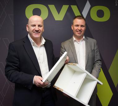 Sean Gallagher with Brendan Phillips, CEO of OVVO, in Dundalk. Photo: Tom Conachy