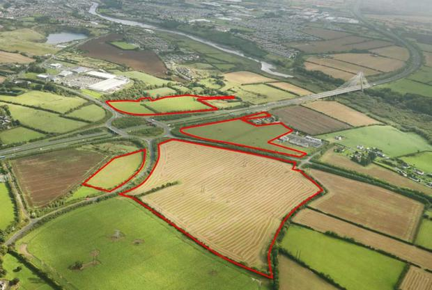 An aerial view of the Tullyallen lands divided into four holdings