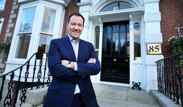 Ken Murnaghan outside Finance Ireland's offices opposite the former Burlington Hotel. Photo: Steve Humphreys