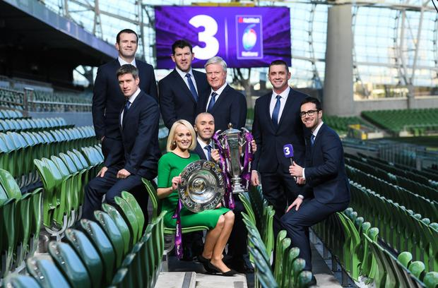 TV3's Six Nations team, clockwise, from left, Ronan O'Gara, Shane Jennings, Shane Horgan, Matt Williams, Alan Quinlan, Joe Molloy, Dave McIntyre and pitchside reporter Sinead Kissane. Photo by Brendan Moran/Sportsfile