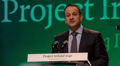 Taoiseach Leo Varadkar at the launch of Project Ireland 2040 at IT Sligo which failed to mention third-level education funding Photo: James Connolly