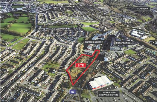 An aerial view of the Dublin 11 site, close to good transport links, which is zoned residential