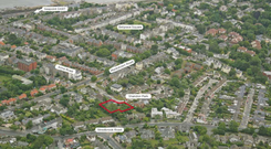 An aerial view of the site at Shandon Park
