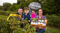 Sweet success: Tom and Laura Sinnott who run the family business Wexford Home Preserves pictured with their children Robbie and Lila.