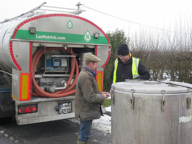 Co Monaghan farmer Tommy Wilkin with LacPatrick haulier Stephen McGuirk.